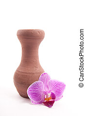 Clay jug - Single clay jug with flower, as e metaphor for...
