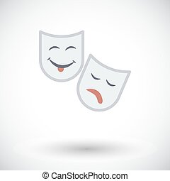 Theatrical mask. Single flat icon on white background....
