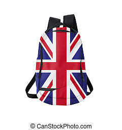 UK flag backpack isolated on white - British flag backpack...