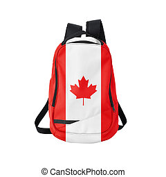 Canada flag backpack isolated on white background. Back to...