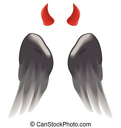Devil horns and wings - Devil horns and dark wings isolated...