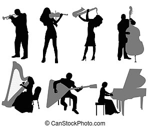 musicians - Silhouettes of the musicians playing musical...