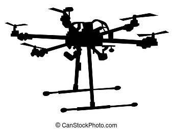 Drone - Quadrocopter with photo equipment on a white...