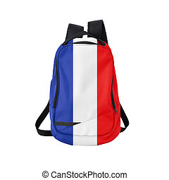 France flag backpack isolated on white background Back to...