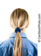 tress - Blond Businesswoman on a blue shirt with her long...