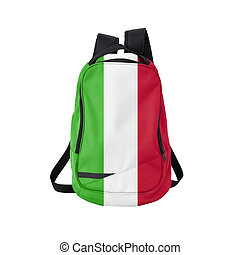 Italy flag backpack isolated on white background. Back to...