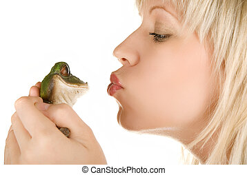 Girl and Frog prince - Frog prince being kissed by a...