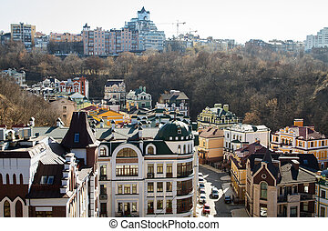 Vozdvizhenka elite district in Kiev, Ukraine Top view on the...