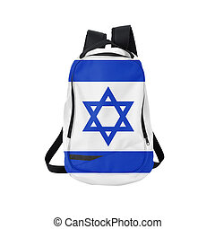 Israel flag backpack isolated on white background. Back to...