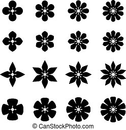 vector flower black white symbols