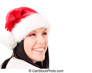 young christmas woman looking at copyspace over white