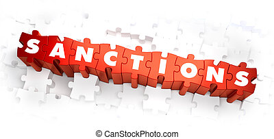 Sanctions - Word on Red Puzzles. Selective Focus. 3D Render.