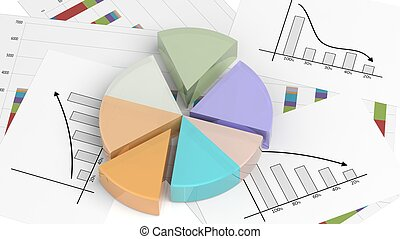 Colorful 3D business pie chart on documents