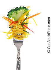 Fresh colorful composition with pasta on fork, isolated on...