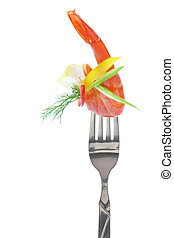 Fresh colorful composition with seafood on fork, isolated on...