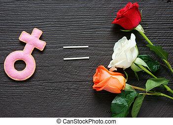 Feminine symbol, women, red rose - Feminine symbol on wooden...
