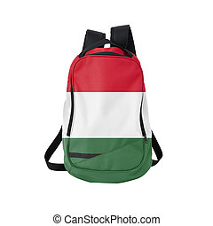 Hungary flag backpack isolated on white background. Back to...