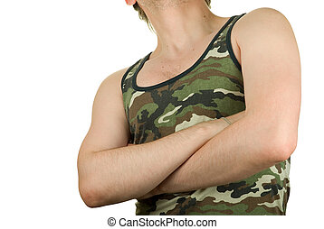 camouflage - Closeup of man in the camouflage shirt isolated...