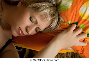 nightmare - sleeping pretty blonde caucasian woman