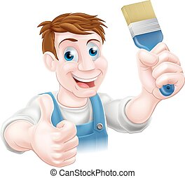 Decorator holding paintbrush - A cartoon handyman or...