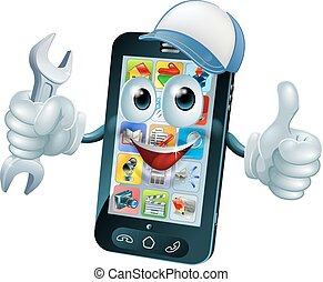 Mobile repair mascot phone mascot person giving a thumbs up...