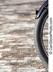 Bicycle Wheel Detail - Detail of black bicycle rear wheel...