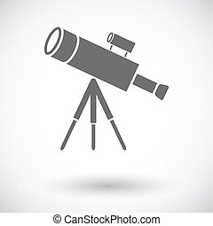 Telescope. Single flat icon on white background. Vector...