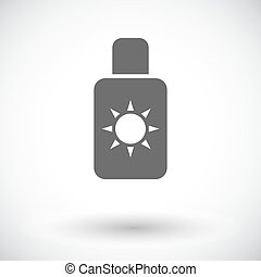 Sunscreen. Single flat icon on white background. Vector...