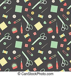 sewing accessories pattern - Seamless pattern with sewing...