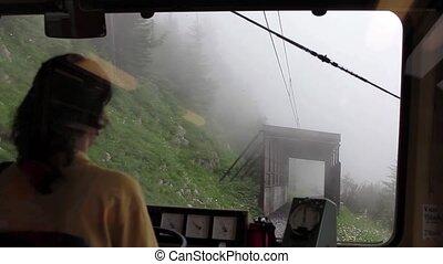 Mountain Train Inside - Inside Swiss commuter train.