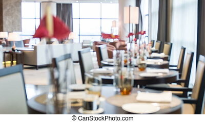 Interior of restaurant in hotel - Empty cozy restaurant with...