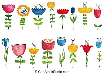Set of colorful flowers - Artistic work. Watercolors on...