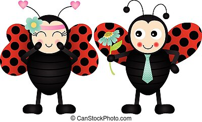 Loving ladybirds - Scalable vectorial image representing a...