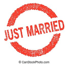 Just Married Rubber Stamp - A rubber stamp in red with the...