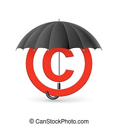 Copyright protection - Red icon of copyright under black...