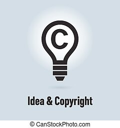 Copyright protection - Lamp icon, idea and protection of...
