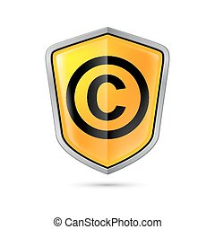 Copyright protection - Yellow shield with copyright sign on...