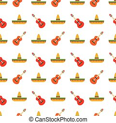 Mexican sombrero and guitar pattern - Seamless pattern with...