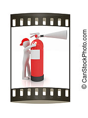 3d man with red fire extinguisher The film strip - 3d man...