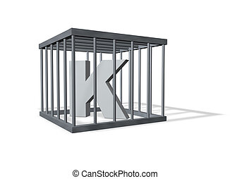 big K in a cage - uppercase letter K in a cage on white...