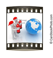 3d mans with red fire extinguisher extinguish earth. The film strip
