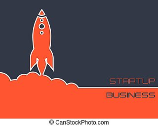 Simplistic startup business background with rocket -...
