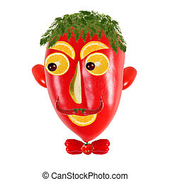 Creative food concept. Positive  portraits made of  red pepper.