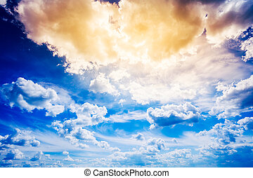 Blue Yellow Sky With Sunlight - Dramatic Sky, Bright Blue...