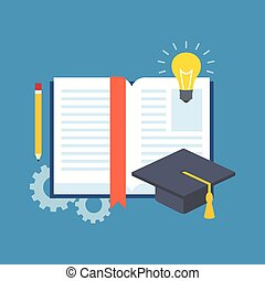 Education, learning, studying concept. Flat design. Isolated...