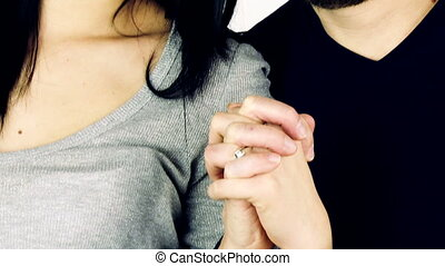 couple in love holding hand - Happy man and woman in love...