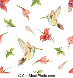 Seamless pattern - Watercolor pattern, fuchsia flowers and...