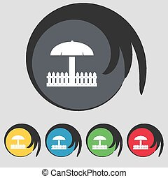 Sandbox icon sign Symbol on five colored buttons Vector...