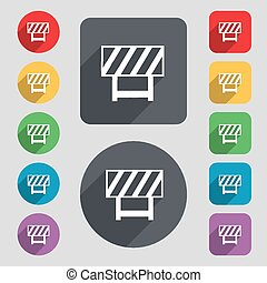 road barrier icon sign. A set of 12 colored buttons and a...