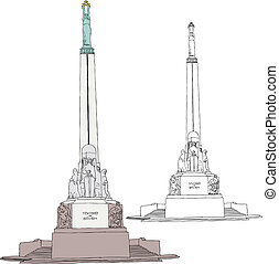 Freedom Monument in Riga - Vector illustration of Freedom...